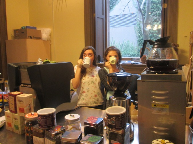 Drinking on the job! Leah Moncada and Hannah Nitefor, Co-Managers 2012